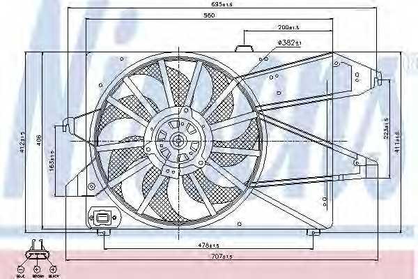 Вентилятор охлаждения двигателя NISSENS 85482 - изображение