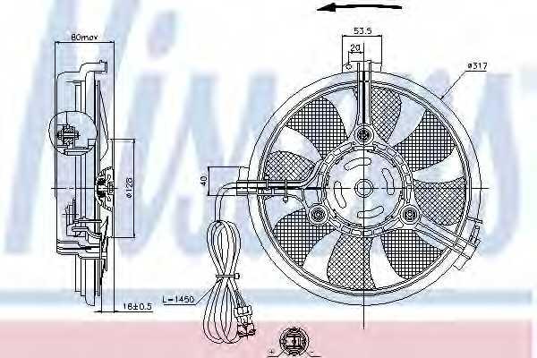 Вентилятор конденсатора кондиционера NISSENS 85519 - изображение