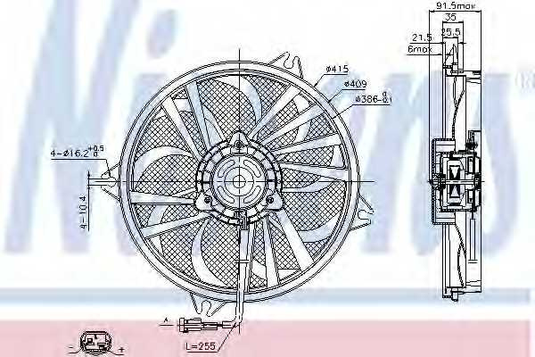 Вентилятор охлаждения двигателя NISSENS 85605 - изображение