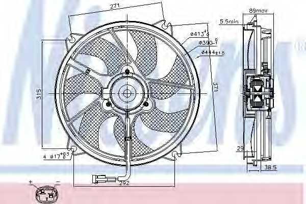 Вентилятор охлаждения двигателя NISSENS 85606 - изображение