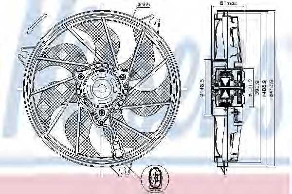 Вентилятор охлаждения двигателя NISSENS 85607 - изображение