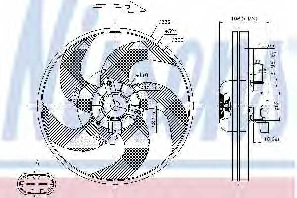 Вентилятор охлаждения двигателя NISSENS 85672 - изображение
