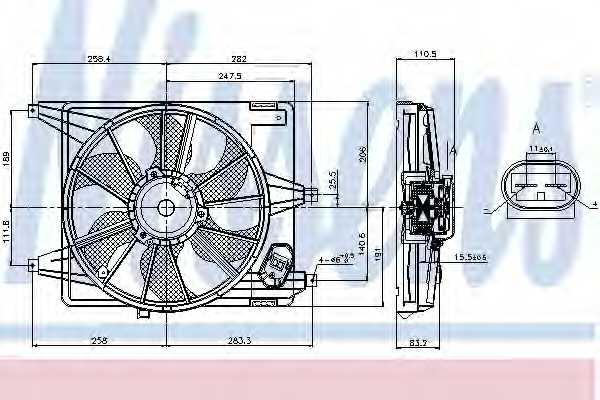 Вентилятор охлаждения двигателя NISSENS 85708 - изображение