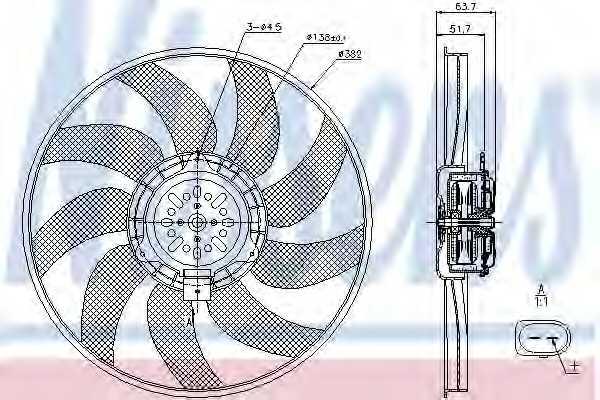 Вентилятор охлаждения двигателя NISSENS 85728 - изображение