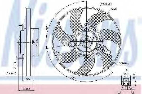 Вентилятор охлаждения двигателя NISSENS 85733 - изображение