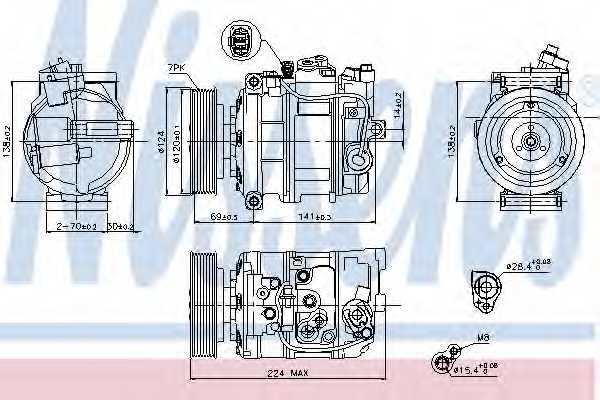 Компрессор кондиционера для AUDI Q7(4L) / VW TOUAREG(7L6, 7L7,7LA,7P5) <b>NISSENS 890025</b> - изображение