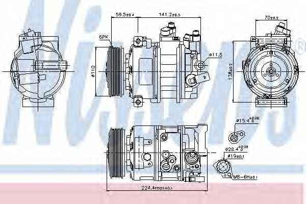 Компрессор кондиционера NISSENS 89020 - изображение