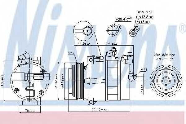 Компрессор кондиционера для MERCEDES C, CLK, E, G, M, S, SLK, SPRINTER, UNIMOG, V, VITO <b>NISSENS 89022</b> - изображение