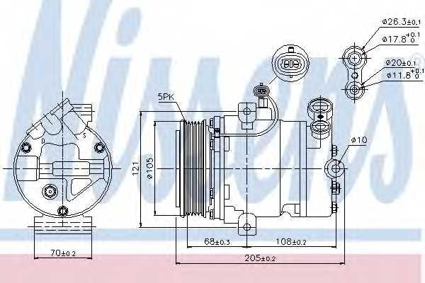 Компрессор кондиционера для OPEL ASTRA(F08#, F07#, F35#, F48#, F67, F69#, F70), CORSA(F68, F08), MERIVA, TIGRA TwinTop, ZAFIRA(F75#) <b>NISSENS 89024</b> - изображение