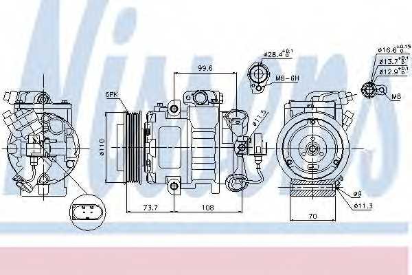 Компрессор кондиционера для AUDI A2, A3, TT / SKODA FABIA, OCTAVIA, RAPID, ROOMSTER / VW BEETLE, EOS, FOX, GOLF, JETTA, PASSAT, POLO, SCIROCCO, SHARAN, TIGUAN, TOURAN <b>NISSENS 89026</b> - изображение