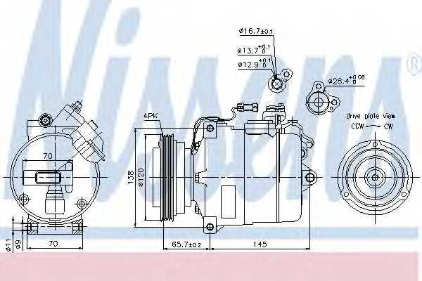 Компрессор кондиционера для AUDI A4(B5,8D2,8D5), A6(C5,4B2,4B5) / SKODA SUPERB(3U4) / VW PASSAT(3B2,3B3,3B5,3B6) <b>NISSENS 89027</b> - изображение