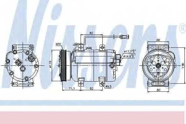 Компрессор кондиционера для AUDI A4(B5,8D2,8D5), A6(C5,4B2,4B5) / VW PASSAT(3B2,3B3,3B5,3B6) <b>NISSENS 89029</b> - изображение