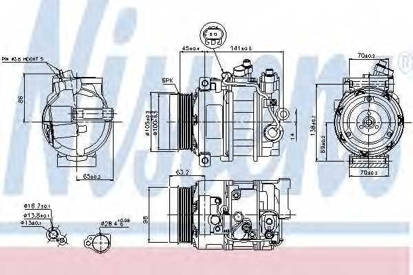 Компрессор кондиционера для MERCEDES C, CLC, CLK, CLS, E, G, M, S, SL, SLK, SPRINTER, UNIMOG, V, VIANO, VITO <b>NISSENS 89033</b> - изображение