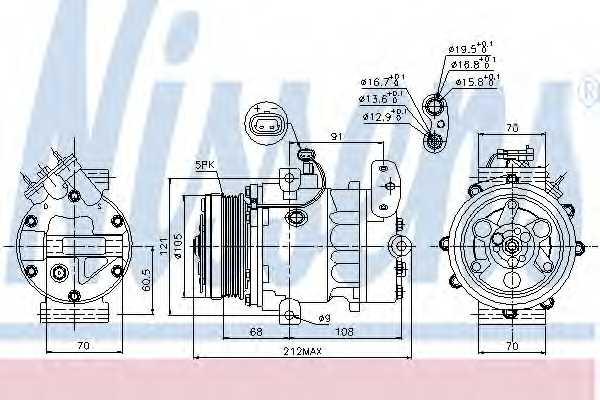 Компрессор кондиционера для OPEL ASTRA(F08#, F07#, F35#, F48#, F67, F69#, F70), ZAFIRA(F75#) <b>NISSENS 89037</b> - изображение
