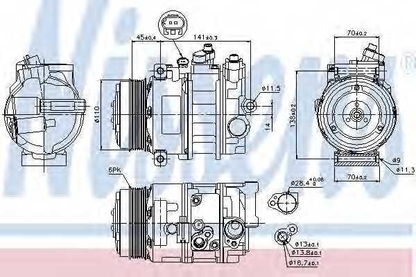 Компрессор кондиционера для MERCEDES C, CLS, E, G, GLK, M, S, SL, SLK, SPRINTER, VIANO, VITO <b>NISSENS 89039</b> - изображение