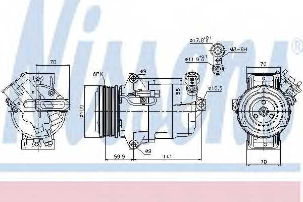 Компрессор кондиционера для OPEL ASTRA(L08,L35,L48,L67,L70), ZAFIRA(A05) <b>NISSENS 89041</b> - изображение