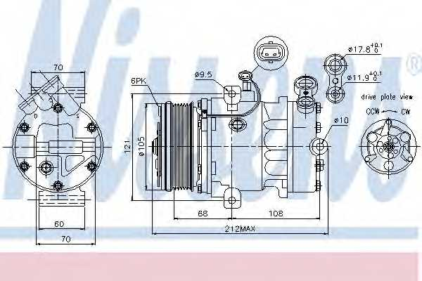 Компрессор кондиционера для OPEL ASTRA(F08#, F35#, F48#, F69#, F70), COMBO, MERIVA, ZAFIRA(F75#) <b>NISSENS 89042</b> - изображение