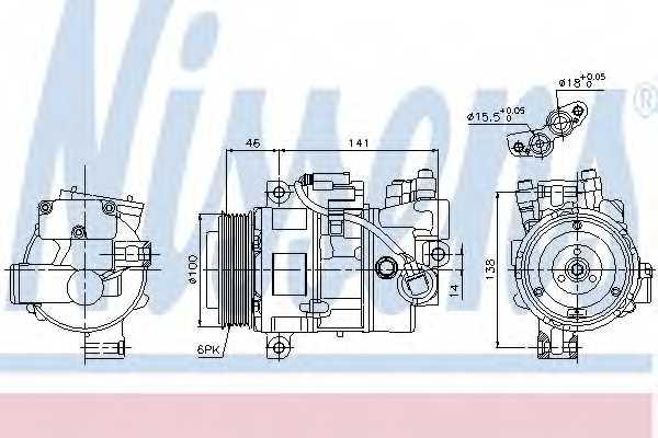 Компрессор кондиционера для BMW 1(E87), 3(E90,E91) <b>NISSENS 89043</b> - изображение