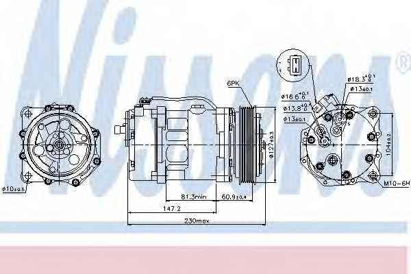 Компрессор кондиционера для VW LT(2, 2DD, 2DE, 2DF, 2DH, 2DK,2DA,2DB,2DC), TRANSPORTER(70XC, 7DB, 7DK, 7DW,70XA,70XB,70XD) <b>NISSENS 89044</b> - изображение