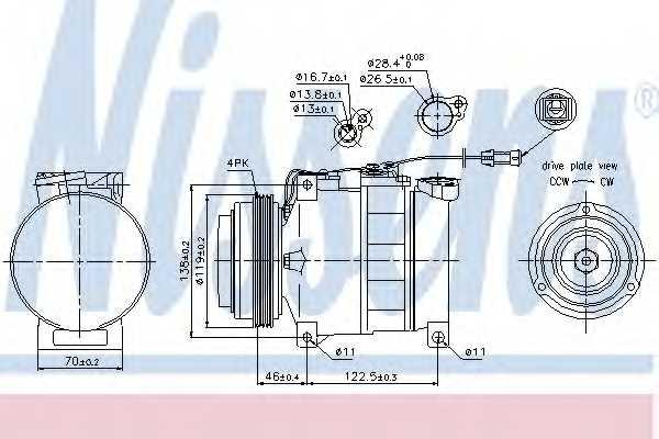 Компрессор кондиционера для AUDI A4, A6, A8, ALLROAD / SKODA SUPERB / VW PASSAT <b>NISSENS 89045</b> - изображение