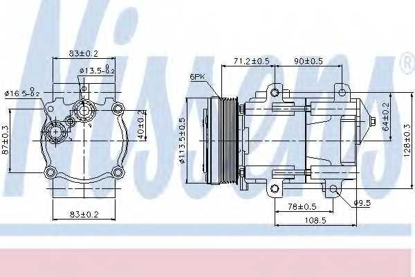 Компрессор кондиционера для FORD GALAXY(WGR) <b>NISSENS 89046</b> - изображение