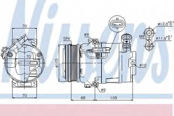 Компрессор кондиционера для OPEL ASTRA(L08,L35,L48,L67), ZAFIRA(A05) <b>NISSENS 89050</b> - изображение
