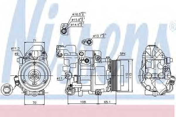 Компрессор кондиционера для MERCEDES A(W168), VANEO(414) <b>NISSENS 89051</b> - изображение