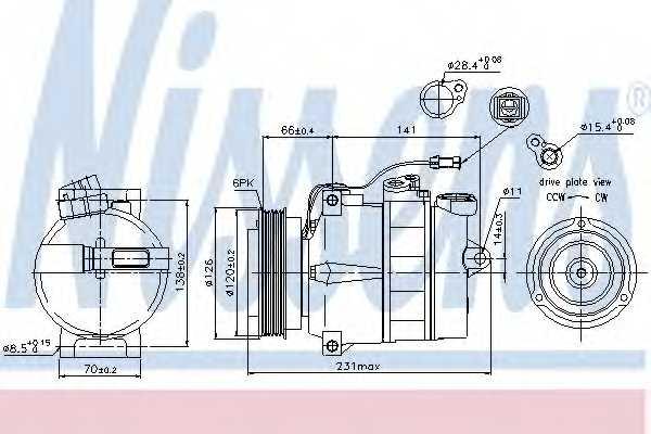 Компрессор кондиционера NISSENS 89054 - изображение