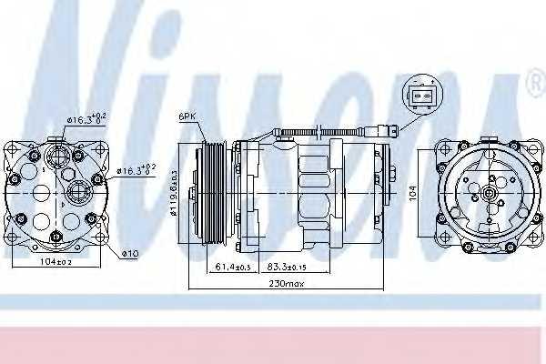Компрессор кондиционера NISSENS 89055 - изображение