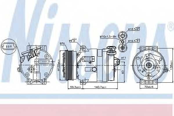 Компрессор кондиционера для OPEL FRONTERA B(6B#), VECTRA(31#,36#,38#) <b>NISSENS 89057</b> - изображение