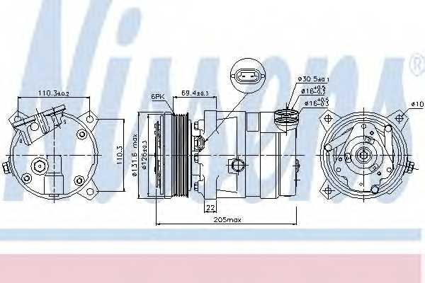 Компрессор кондиционера для CHEVROLET LACETTI, NUBIRA, OPTRA / DAEWOO LACETTI, NUBIRA / LDV CONVOY / OPEL ASTRA, CALIBRA A, CAMPO, VECTRA <b>NISSENS 89058</b> - изображение