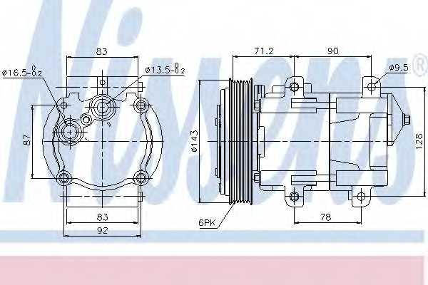 Компрессор кондиционера для FORD MONDEO(BAP,BFP,BNP,GBP) <b>NISSENS 89059</b> - изображение