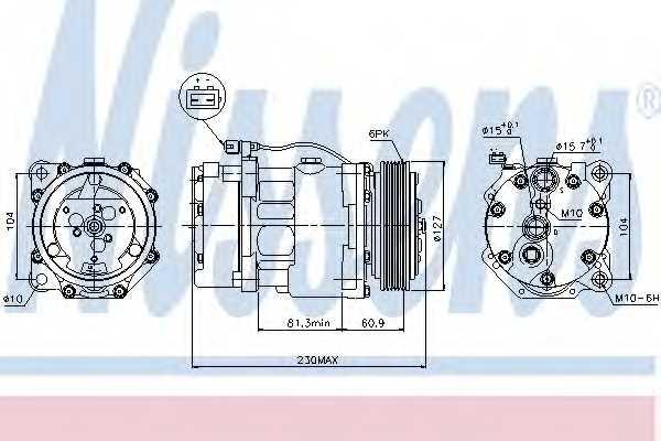 Компрессор кондиционера для VW TRANSPORTER(70XC, 7DB, 7DK, 7DW,70XA,70XB,70XD) <b>NISSENS 89061</b> - изображение