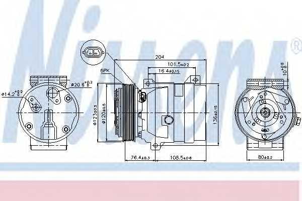 Компрессор кондиционера для NISSAN INTERSTAR, PRIMASTAR / OPEL MOVANO, VIVARO / RENAULT 21, 25, AVANTIME, MASTER, MEGANE, MEGANE Scenic, SCENIC, TRAFIC <b>NISSENS 89063</b> - изображение