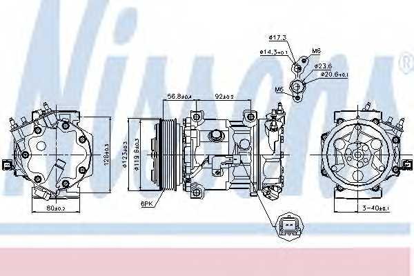 Компрессор кондиционера для CITROEN BERLINGO(B9), C4(LA#,LC#,UA#,UD#) / PEUGEOT 307(3A/C,3B,3E,3H), 308(4C#,4A#), PARTNER <b>NISSENS 89067</b> - изображение