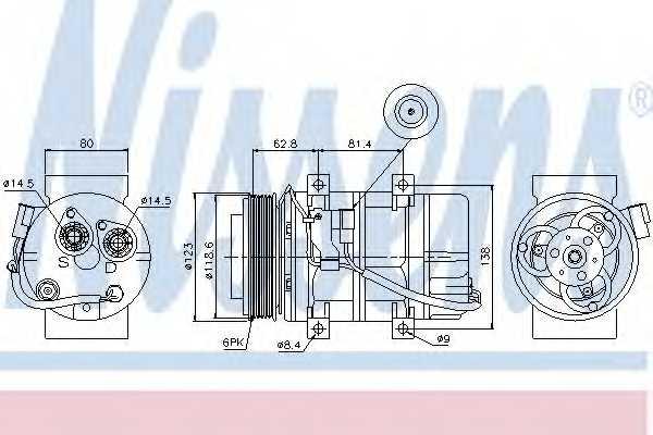 Компрессор кондиционера для VOLVO S60, S80(XY,TS), V70(SW), XC70 CROSS COUNTRY <b>NISSENS 89069</b> - изображение