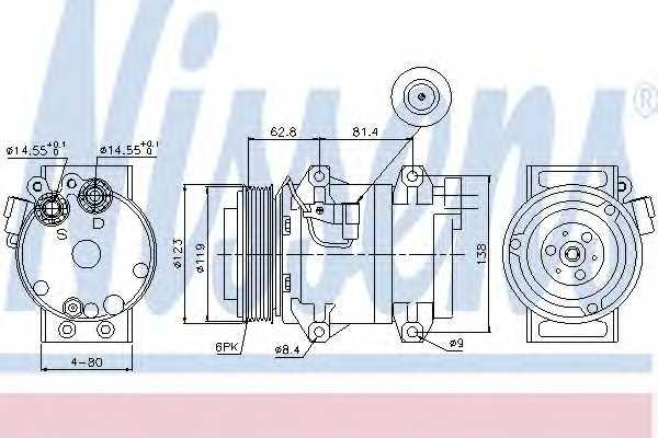 Компрессор кондиционера для VOLVO S60, S80(XY,TS), V70(SW), XC70 CROSS COUNTRY, XC90 <b>NISSENS 89070</b> - изображение