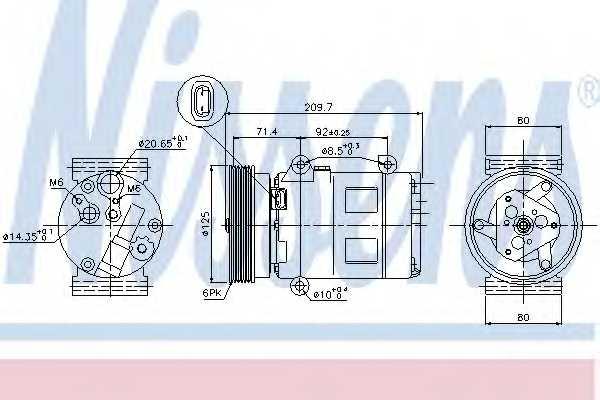 Компрессор кондиционера для NISSAN ALMERA, QASHQAI / QASHQAI +2 / RENAULT GRAND SCENIC, MEGANE, MEGANE Scenic, SCENIC <b>NISSENS 89072</b> - изображение
