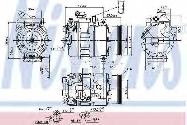 Компрессор кондиционера для AUDI A4(B6,8E2,8E5) <b>NISSENS 89073</b> - изображение