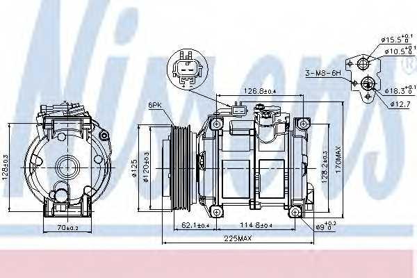 Компрессор кондиционера для CHRYSLER VOYAGER(RS,RG) <b>NISSENS 89074</b> - изображение