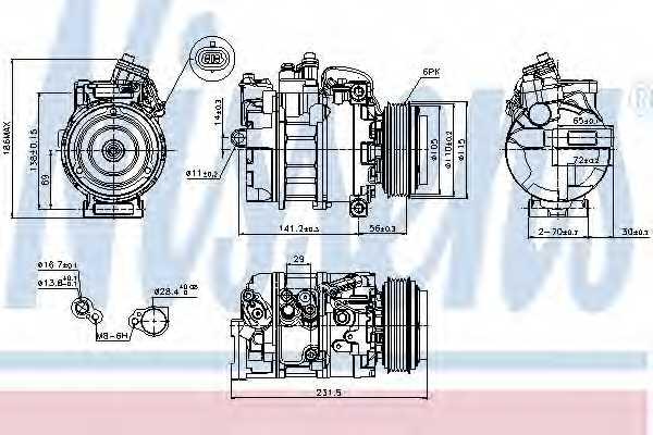 Компрессор кондиционера для OPEL ZAFIRA(F75#) <b>NISSENS 89075</b> - изображение