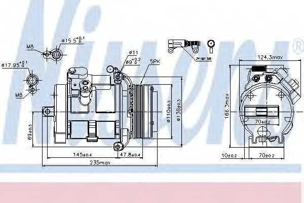 Компрессор кондиционера для BMW X5(E53) / LAND ROVER RANGE ROVER(LM) <b>NISSENS 89077</b> - изображение