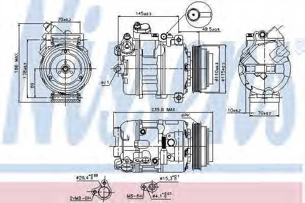 Компрессор кондиционера NISSENS 89080 - изображение