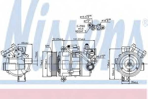Компрессор кондиционера для BMW 1(E81,E82,E87,E88), 3(F35, F80,E90,E91,E92,E93,F30,F31), X1(E84) <b>NISSENS 89086</b> - изображение