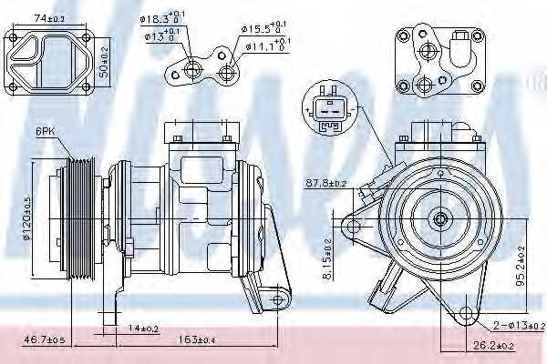 Компрессор кондиционера для CHRYSLER VOYAGER(RS,RG) <b>NISSENS 89087</b> - изображение