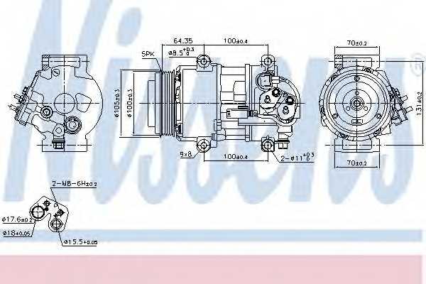 Компрессор кондиционера для MERCEDES A(W169), B(W245) <b>NISSENS 89089</b> - изображение