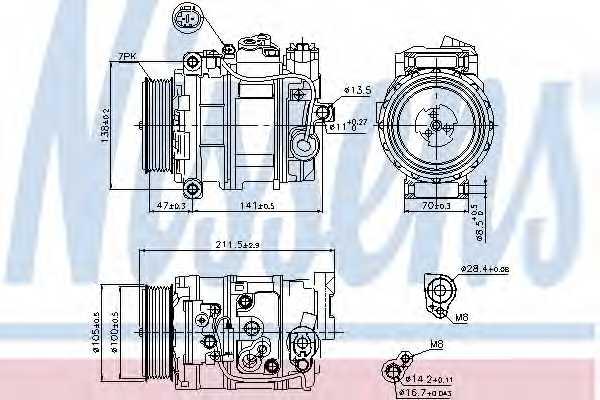 Компрессор кондиционера для MERCEDES C, CLK, CLS, E, G, GL, M, R, VIANO <b>NISSENS 89090</b> - изображение