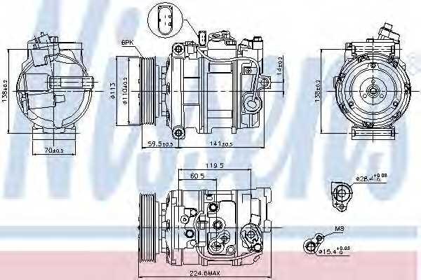 Компрессор кондиционера для AUDI Q7(4L) / VW PHAETON(3D#), TOUAREG(7L6, 7L7,7LA) <b>NISSENS 89091</b> - изображение