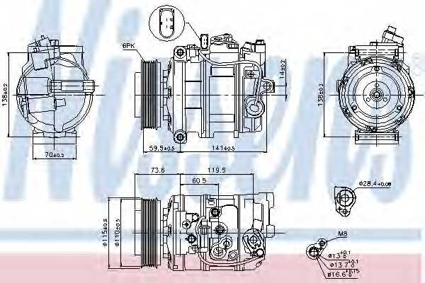 Компрессор кондиционера для AUDI A4(8HE, B6, B7,8E2,8E5,8H7) <b>NISSENS 89092</b> - изображение