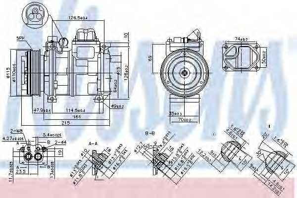 Компрессор кондиционера для BMW 3(E36), 5(E34) <b>NISSENS 89093</b> - изображение
